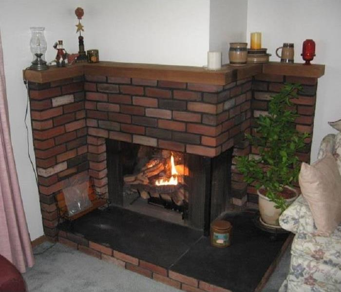 Brick fireplace after cleaning